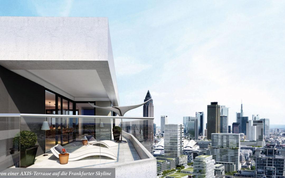Blick von einer AXIS-Terrasse auf die Frankfurter Skyline