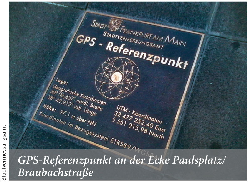 GPS-Referenzpunkt an der Ecke Paulsplatz/Braubachstraße