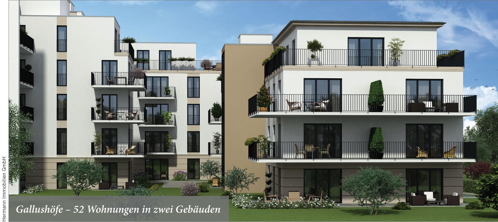 Gallushöfe – 52 Wohnungen in zwei Gebäuden