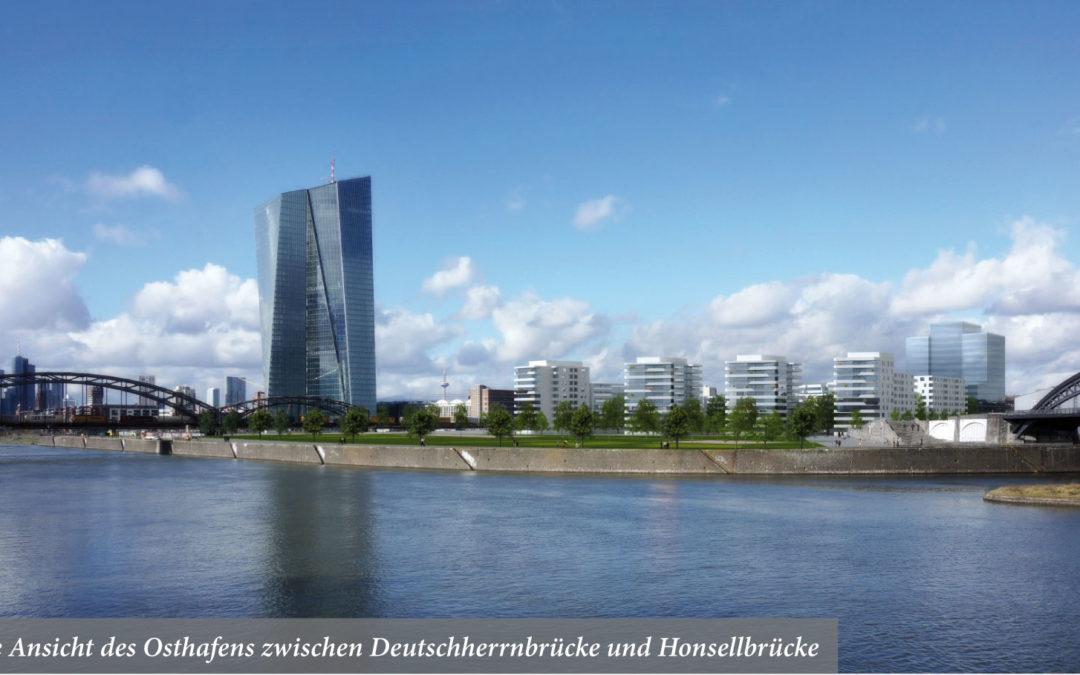Neue Ansicht des Osthafens zwischen Deutschherrnbrücke und Honsellbrücke