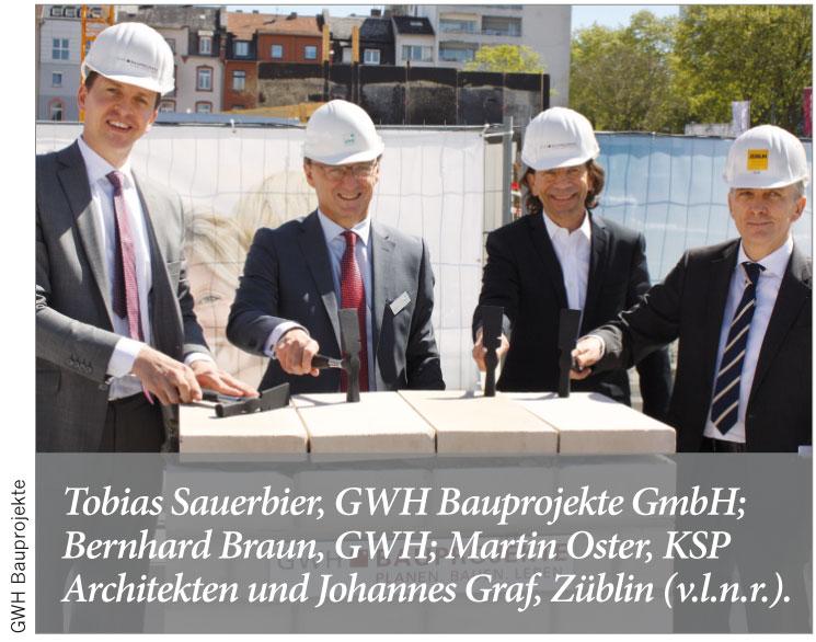 Tobias Sauerbier, GWH Bauprojekte GmbH; Bernhard Braun, GWH; Martin Oster, KSP Architekten und Johannes Graf, Züblin (v.l.n.r.).