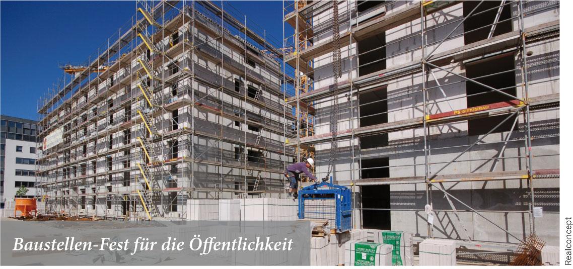 Faszination Baustelle mit Richtkranz und Kran-Gondel