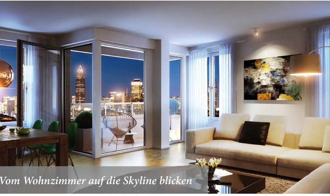 Vom Wohnzimmer auf die Skyline blicken