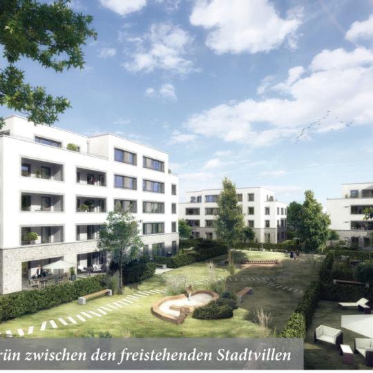 71 Eigentumswohnungen verteilen sich auf sechs Stadtvillen