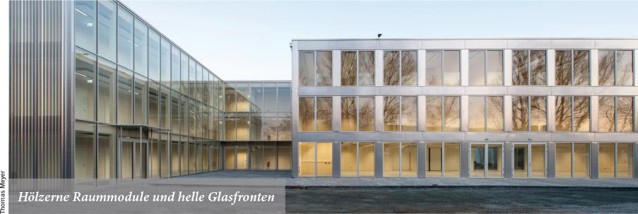 Hölzerne Raummodule und helle Glasfronten