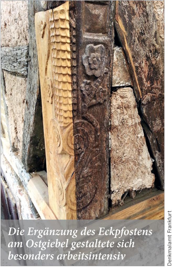 Die Ergänzung des Eckpfostens am Ostgiebel gestaltete sich besonders arbeitsintensiv