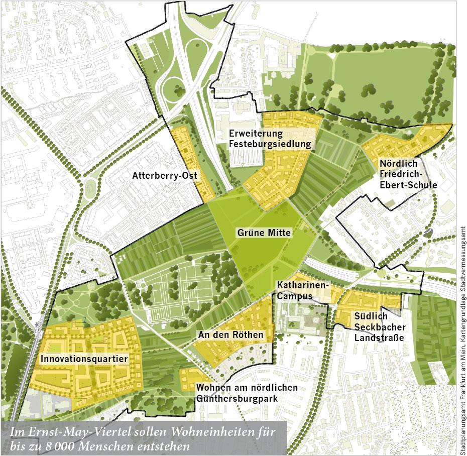 Im Ernst-May-Viertel sollen Wohneinheiten für bis zu 8000 Menschen entstehen