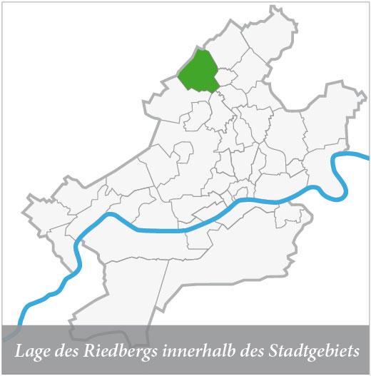 Lage des Riedbergs innerhalb des Stadtgebiets
