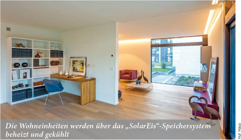 """Die Wohneinheiten werden über das """"SolarEis""""-Speichersystem beheizt und gekühlt"""