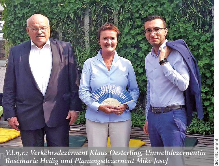 Verkehrsdezernent Klaus Oesterling, Umweltdezernentin Rosemarie Heilig und Planungsdezernent Mike Josef