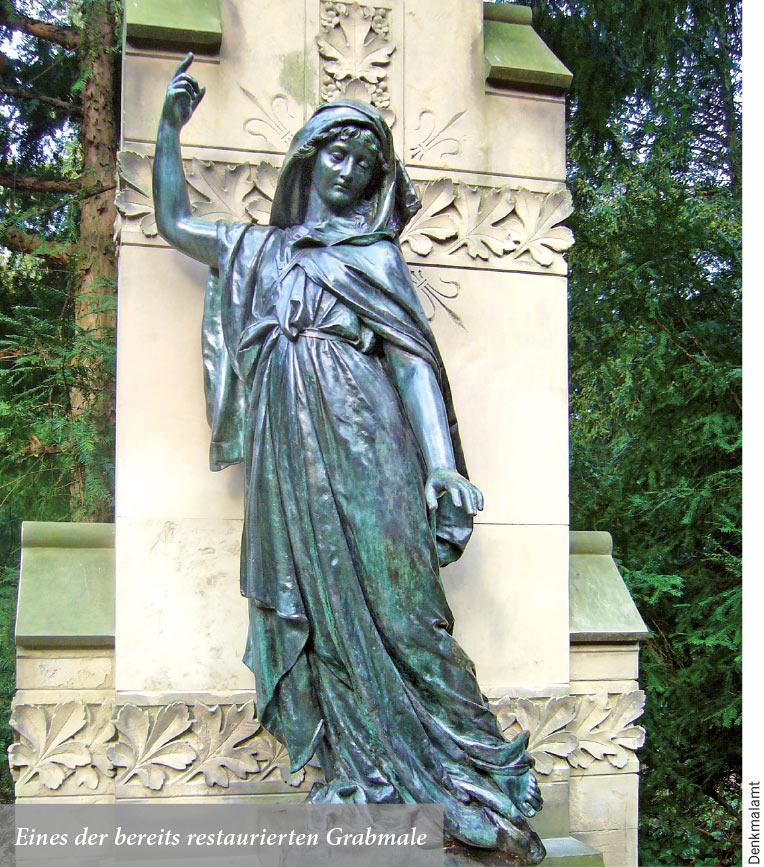 Eines der bereits restaurierten Grabmale
