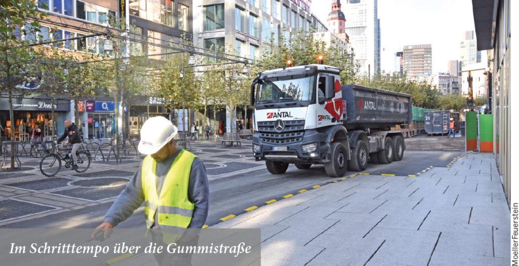 Baustraße MyZeil in der Frankfurter Innenstadt