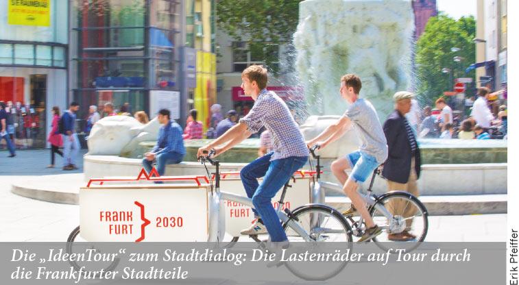 """Die """"IdeenTour"""" zum Stadtdialog: Die Lastenräder auf Tour durch die Frankfurter Stadtteile"""