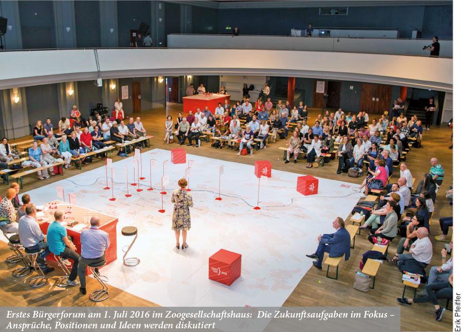 Erstes Bürgerforum am 1. Juli 2016 im Zoogesellschaftshaus: Die Zukunftsaufgaben im Fokus – Ansprüche, Positionen und Ideen werden diskutiert