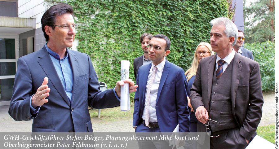 GWH-Geschäftsführer Stefan Bürger, Planungsdezernent Mike Josef und  Oberbürgermeister Peter Feldmann