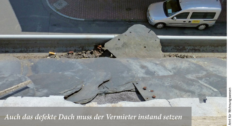 beschädigtes Dach