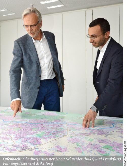 Frankfurt und Offenbach auf einem Stadtplan
