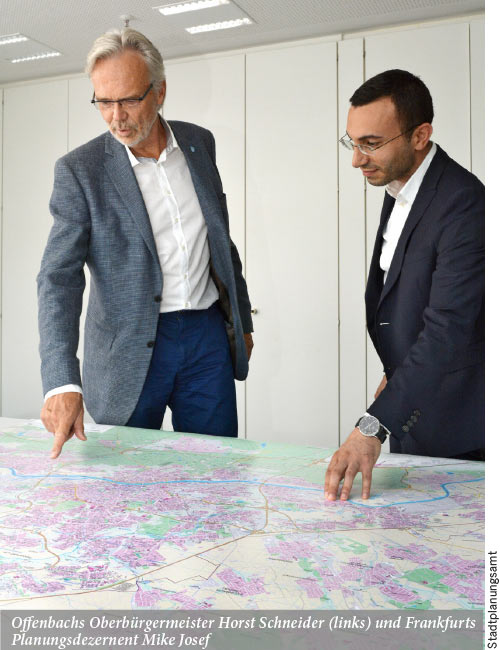 Offenbachs Oberbürgermeister Horst Schneider und Frankfurts Planungsdezernent Mike Josef