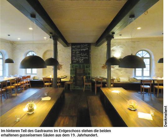Gastraum im Erdgeschoss mit gusseisernen Säulen
